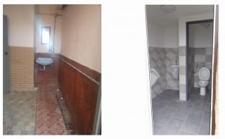 Koláž socialního zařízení v budově TJ Sokol, před a po rekonstrukci